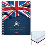 Тетрадь 120 л., HATBER, 7БЦ, 4-х цветная, гребень, клетка, «Британский флаг»