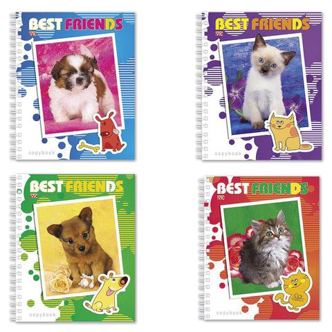 Тетрадь 48 л., HATBER VK, гребень, клетка, обложка мелованный картон, «Best Friends» («Животные»)