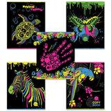 Тетрадь 48 л., HATBER, клетка, выборочный лак, «Neon Colour»