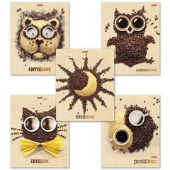 Тетрадь 48 л., HATBER, клетка, обложка мелованный картон, «CoffeeBook», 48Т5B1