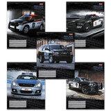 Тетрадь 48 л., HATBER, клетка, обложка мелованный картон, «Police» («Машины»)