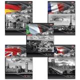 Тетрадь 48 л., HATBER, линия, обложка мелованный картон, «Страны»