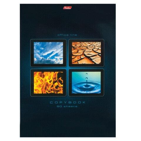 Тетрадь 80 л., А4, HATBER, склейка, клетка, обложка мелованный картон, «Элементы природы»
