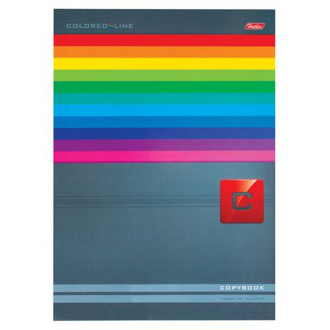 Тетрадь 80 л., А4, HATBER, склейка, клетка, обложка мелованный картон, «Яркие полосы»