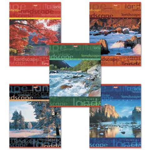 Тетрадь 96 л., HATBER, линия, обложка мелованный картон, «Пейзажи», 96Т5B2