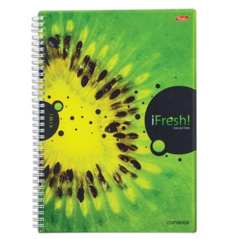 Тетрадь 96 л., А4, HATBER, гребень, клетка, обложка пластик 0,6 мм, «iFRESH-киви»