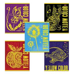 Тетрадь 48 л., HATBER, клетка, флок, «Yellow» (Желтым), 48Т5флB1