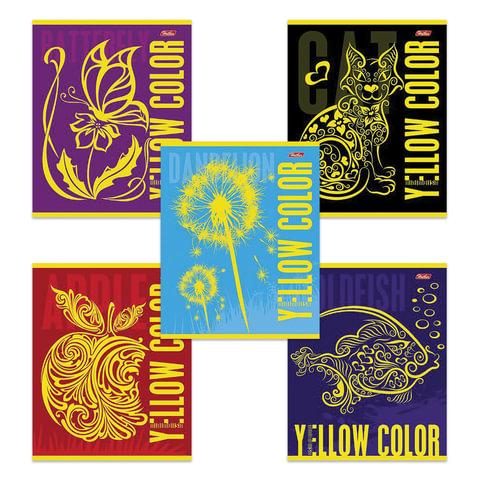 "Тетрадь 48 л., HATBER, клетка, флок, ""Yellow"" (Желтым), 48Т5флB1"