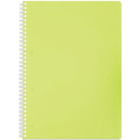 Тетрадь 80 л., А4 HATBER, гребень, клетка, пластиковая обложка, «DIAMOND» (неоново-желтая)