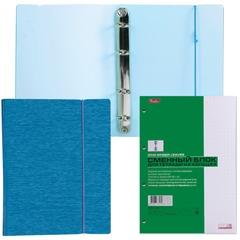 Тетрадь на кольцах, 120 л., HATBER, пластиковая обложка, «WOOD-голубая», 120ТК5Bр1 02225