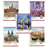 Тетрадь 40 л., HATBER, клетка, обложка мелованный картон, «Города Европы», 40Т5B1