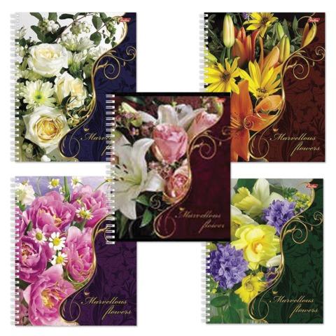 Тетрадь 48 л., HATBER, гребень, клетка, выборочный лак, «Flowers» («Цветы»)