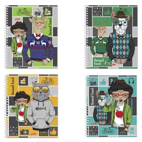 Тетрадь 48 л., HATBER, гребень, клетка, обложка мелованный картон, «Animal trend»