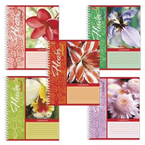 Тетрадь 48 л., HATBER, гребень, клетка, обложка мелованный картон, «Natural colours» («Цветы»)