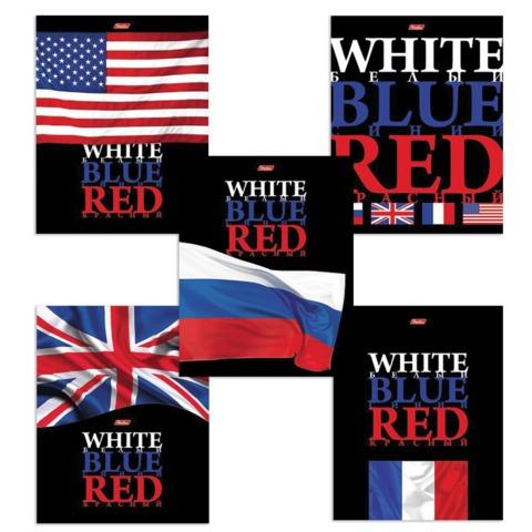 Тетрадь 48 л., HATBER, клетка, выборочный лак, «White Blue Red» («Флаги»)