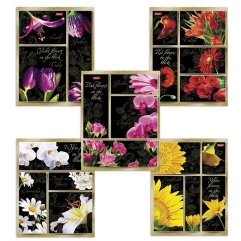 Тетрадь 48 л., HATBER, клетка, выборочный лак, «Цветы на черном»