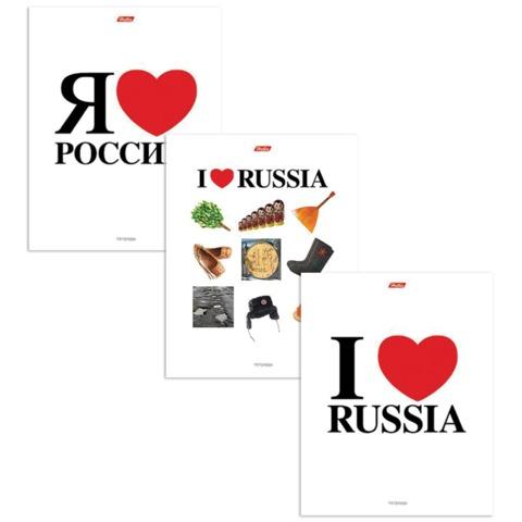 Тетрадь 48 л., HATBER, клетка, выборочный лак, «Я люблю Россию»