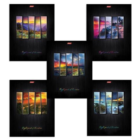 Тетрадь 48 л., HATBER, клетка, выборочный лак, «Яркие краски природы»