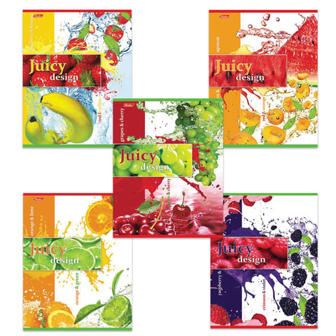 Тетрадь 48 л., HATBER, клетка, обложка мелованный картон, «Juicy Design» («Фрукты»), 48Т5B1