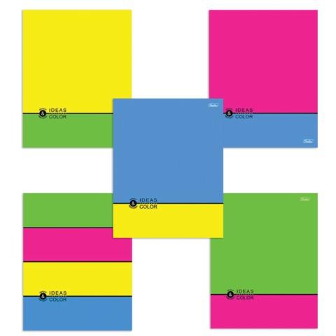 Тетрадь 48 л., HATBER, клетка, обложка мелованный картон, «NEON — Ideas Color»