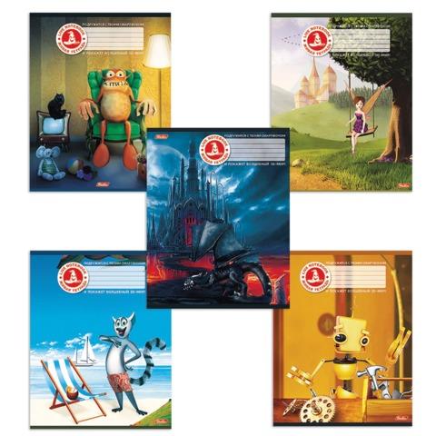 Тетрадь 48 л., HATBER, клетка, мелованная картонная обложка, «живая» 4D тетрадь, «Ассорти №2»