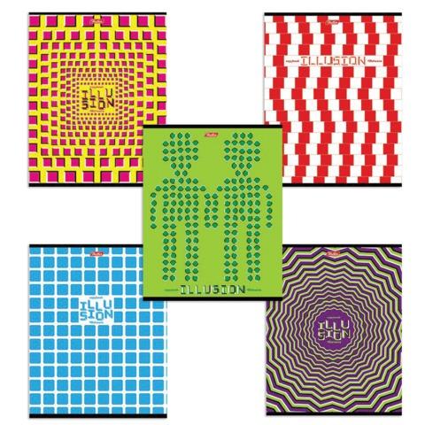 Тетрадь 48 л., HATBER, клетка, мелованная картонная обложка, «Иллюзия»