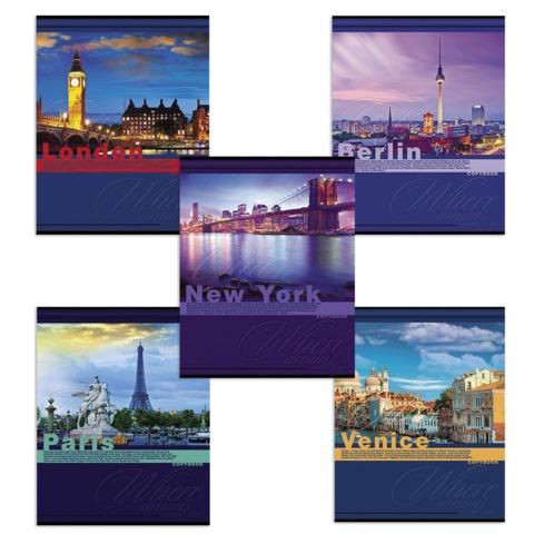 Тетрадь 48 л., HATBER, клетка, мелованная картонная обложка, «Красочные города»
