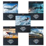 Тетрадь 48 л., HATBER, клетка, мелованная картонная обложка, «Самолеты» (WOT)