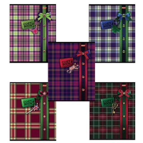 Тетрадь 48 л., HATBER, клетка, мелованная картонная обложка, «Шотландка»