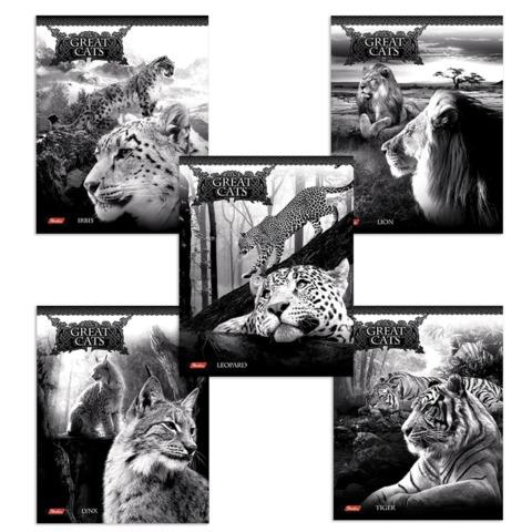 Тетрадь 48 л., HATBER, клетка, металлизированный картон, «Great Cats» («Большие кошки»)