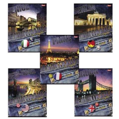 """Тетрадь 48 л., HATBER, линия, обложка мелованный картон, """"Denim Travel"""" (""""Путешествия""""), 48Т5B2"""