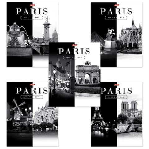 Тетрадь 60 л., HATBER, клетка, обложка мелованный картон, «Париж»