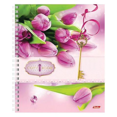 Тетрадь 96 л., HATBER, 7БЦ, гребень, клетка, «Flowers» («Цветы»)