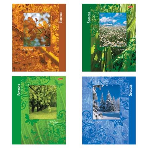 Тетрадь 96 л., HATBER, гребень, 4 обложки, клетка, обложка мелованный картон, «Времена года»