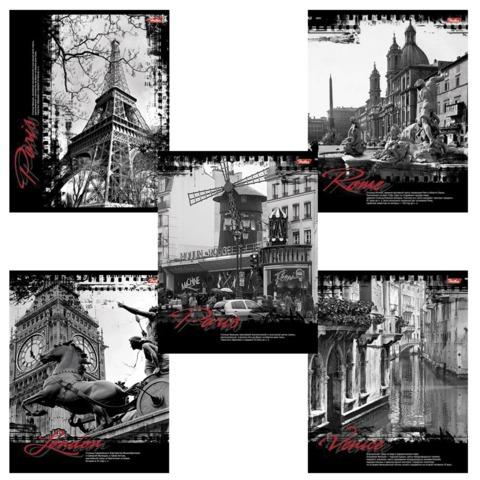 Тетрадь 96 л., HATBER, клетка, обложка мелованный картон, «Города Европы»