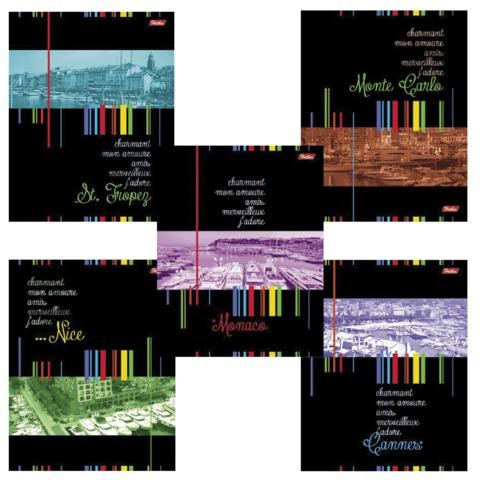Тетрадь 96 л., HATBER, клетка, обложка мелованный картон, «Лазурный берег», 96Т5B1