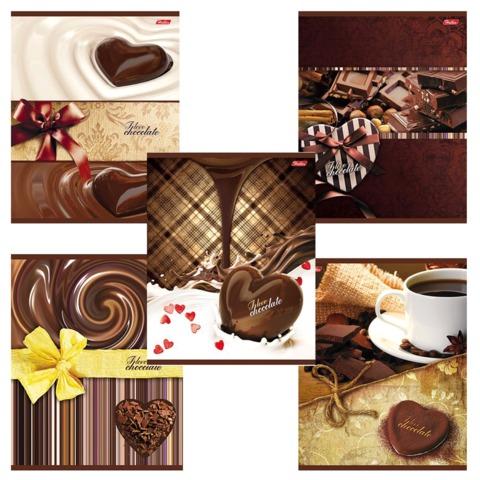 """Тетрадь 96 л., HATBER, клетка, обложка мелованный картон, """"Шоколад"""", 96Т5B1"""