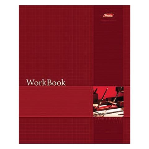 Тетрадь 96 л., HATBER, сшито-клееная, клетка, тиснение, «WorkBook — Красная»