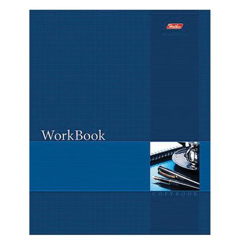 Тетрадь 96 л., HATBER, сшито-клееная, клетка, фактурное тиснение, «WorkBook — Синяя»