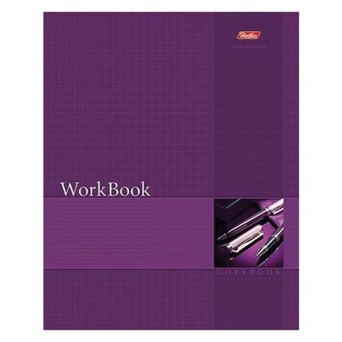Тетрадь 96 л., HATBER, сшито-клееная, клетка, тиснение, «WorkBook — Фиолетовая»