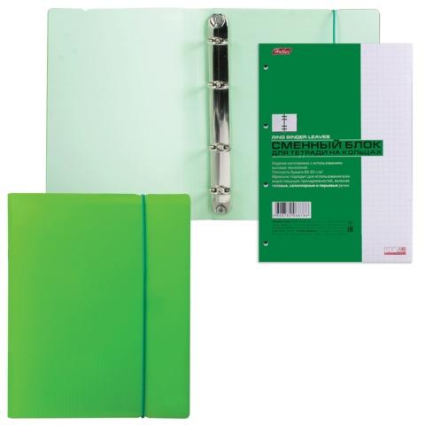 Тетрадь на кольцах, 120 л., HATBER, пластиковая обложка, «DIAMOND-зеленая», 120ТК5Bр1 02034