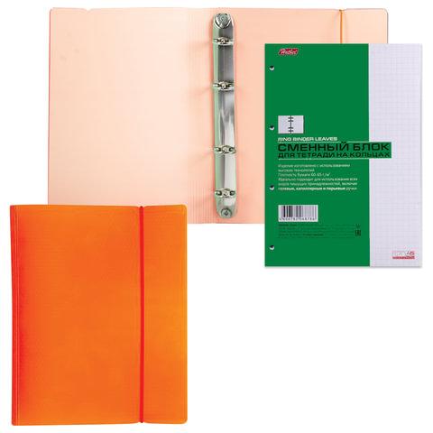 Тетрадь на кольцах, 120 л., HATBER, пластиковая обложка, «DIAMOND-оранжевая», 120ТК5Bр1 02035