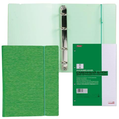 Тетрадь на кольцах, 120 л., HATBER, пластиковая обложка, «WOOD-зеленая»