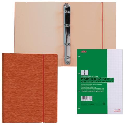 Тетрадь на кольцах, 120 л., HATBER, пластиковая обложка, «WOOD-красная»