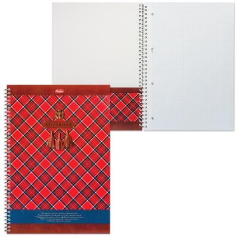 Тетрадь 100 л., А4, HATBER, спираль, клетка, с карманом, «Шотландка»