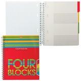 Тетрадь 120 л., А5, HATBER, гребень, клетка, с разделителями, «Four Blocks» (квадраты)