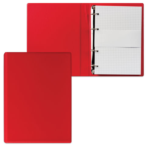 Тетрадь на кольцах, 90 л., А5, 140×205 мм, обложка ПВХ, клетка, красная, «ДПС»