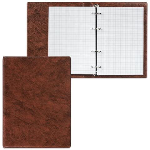 Тетрадь на кольцах, 90 л., А5, 140×205 мм, обложка ПВХ, клетка, коричневая, «ДПС»