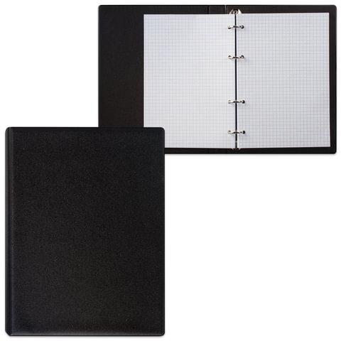 Тетрадь на кольцах, 90 л., А5, 140×205 мм, обложка ПВХ, клетка, черная, «ДПС»