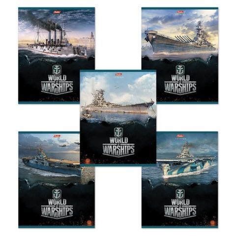Тетрадь 48 л.,, HATBER, клетка, мелованный картон обложка, «Военные корабли — №1» («WOT»)